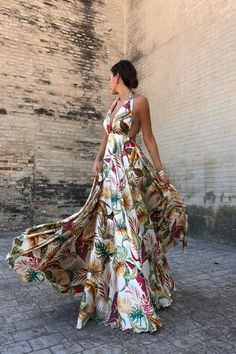 Summer Deep VNeck Floral Print Dress Women Bohemian Sleeveless Backless Empire Maxi Dress Beach Party Dresses Color WHITE Size S Vacation Dresses, Beach Dresses, Women's Dresses, Casual Dresses, Summer Dresses, Party Dresses, Outfit Summer, Formal Outfits, Dress Formal