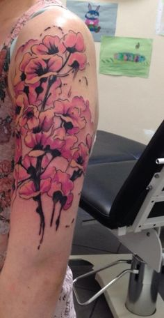 Cherry Blossom water colour style tattoo, done at Dragon FX In West Edmonton Mall, AB Canada. Done by Tod.