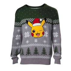 Buy Pokémon Pikachu Winking Christmas Knitted Sweater, Male, Extra Large, Multi-colour - For Only VAT) Online from SmartTeck. See our other Pokémon products. Pikachu, Pokemon, West Yorkshire, Christmas Jumpers, Christmas Sweaters, Christmas Knitting, Hoodies, Sweatshirts, Green And Grey