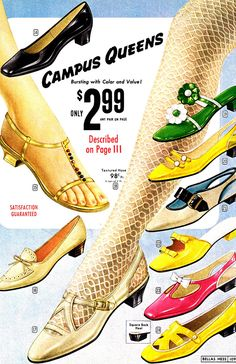 Campus Queens - colorful National Bellas Hess shoes vintage ad from 1968 - Sixties Fashion, Mod Fashion, Fashion Shoes, Vintage Fashion, Gothic Fashion, 60s Shoes, Retro Shoes, Vintage Shoes, Blue Shoes