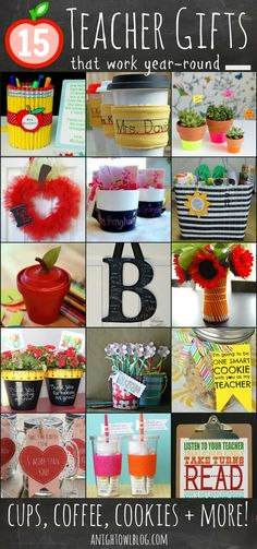 15 DIY Teacher Gift Ideas #teacher #gifts #school