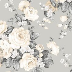 Infuse your decor with the romantic vibes of the Manhattan Comfort Jacob Grand Floral Wallpaper . This durable pre-pasted wallpaper features a bold yet. Grey Floral Wallpaper, Flower Wallpaper, Wallpaper Roll, Floral Wallpapers, Vintage Flower Backgrounds, Botanical Wallpaper, Metallic Wallpaper, Kids Wallpaper, Beautiful Bouquet Of Flowers