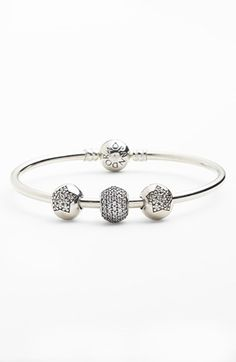 Pandora Jewelry OFF! Pandora Open Bangle, Bracelet Pandora Charms, Pandora Beads, Bangle Bracelets With Charms, Pandora Rings, Pandora Jewelry, The Bangles, Bracelets Design, Star Jewelry