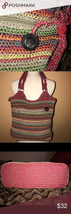 """The Sak crochet gypsy stripe bag Fun roomy bag.silver tone hardware. Main zipper closure. Convenient zipper on the outside. Striking jewel tones are hand crocheted.strap drop 10"""".  Height 14"""" , 12"""" length. Very clean, no snags or pulls The Sak Bags"""
