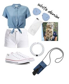 """""""White denim"""" by emmaleighkate on Polyvore featuring Barbour International, Miss Selfridge, Converse, Kaleos, Native Union, Rebecca Minkoff and Lokai"""