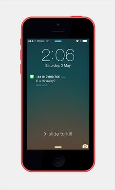 """Slide to Kill. Slide to unlock message changes to 'Slide to Kill' when GPS detects phone is in motion. """"Slide to Kill"""" becomes positioning for phone awareness campaign."""