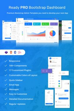 Ready Pro Bootstrap Dashboard Admin Template. Ready PRO is a dashboard admin template based on the Bootstrap 4 framework created to meet your needs when creating panels for web apps or backend panels.    As the name suggests, Ready PRO creates a readily, fast, modern, and beautiful dashboard for your next project.    For plugin options, we are very selective in selecting. We only use plugins that are absolutely necessary to keep templates fast and light.