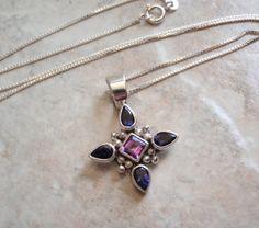 Sterling Silver Purple Blue Gemstones Necklace by cutterstone