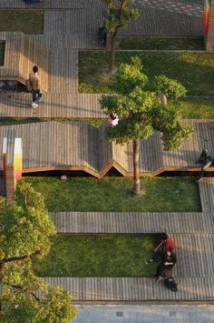 Kic Park Urban landscape in Shanghai. Il Kic Park è un parco urbano… Landscape And Urbanism, Landscape Design Plans, Landscape Architecture Design, Urban Landscape, House Landscape, Architecture Jobs, Park Landscape, Minimalist Landscape, Architecture Diagrams