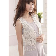 Sweety and Charming Design V-Neck Sleeveless Fringe Decorated Solid Color Vest For Women, APRICOT in Waistcoat   DressLily.com