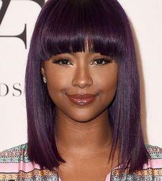Deep purple hair on dark skin