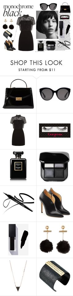 """Monochrome Black"" by sophy-b ❤ liked on Polyvore featuring Marc Jacobs, Tory Burch, Gucci, Sandro, Gorgeous Cosmetics, Chanel, Chloe Gosselin, Lana and The Sak"