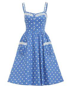 'Corinna' Light Blue Polka Dot Swing Dress - New In