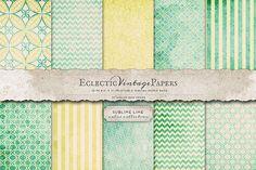Vintage Printable Papers - Sublime Lime from DesignBundles.net