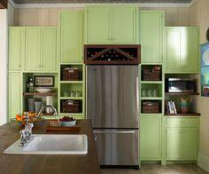 Spring green kitchen cabinets