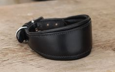 Sighthound padded leather collar for greyhound, whippet...by MJ Lessard sellier