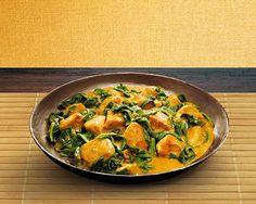 Rode curry met kip en spinazie recept