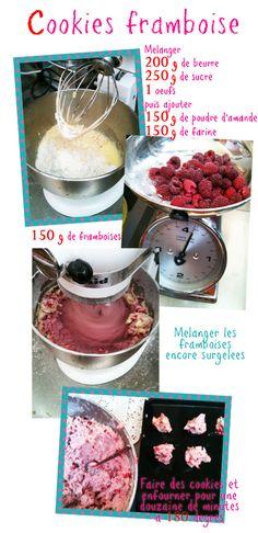 *Cookies Framboises Probablement irrésistibles, et irrésistiblement roses ! (+ ajouter quelques pépites de chocolat ?)