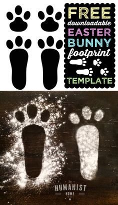 FREE Downloadable Easter Bunny Footprint Template - Idea for Easter Egg Hunt