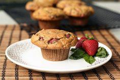 Strawberry Basil Almond Flour Muffins