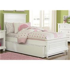 The bed is finished in linen white and comes with four interchangeable color panels in black, red, pink and white allowing you and your child to add a custom touch to the bed.This full size panel bed will give your child the extra room they should have as they grow.