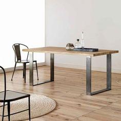 Table moderne plateau bois chêne structure métal forgé Roma - HT 75cm - 4 Pieds : tables, chaises et tabourets