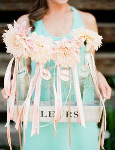 single stem dahlia bouquets for the bridesmaids
