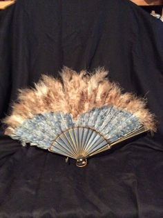 Antique Blue Ostrich Feather Hand Fan Edwardian Victorian Approx 12x24wide