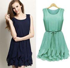 2013 Summer New Lady Fashion Celebrity Dress Cascading Ruffle One-piece Pleated Chiffon Dresses Mint Green Plus Size $23.29 !!!