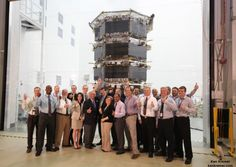 NASA Administrator Charles Bolden poses with the agency's Magnetospheric Multiscale (MMS) spacecraft, mission personnel, Goddard Center Director Chris Scolese and NASA Associate Administrator John Grunsfeld, during visit to the cleanroom at NASA's Goddard Space Flight Center in Greenbelt, Md., on May 12, 2014. Credit: Ken Kremer- kenkremer.com