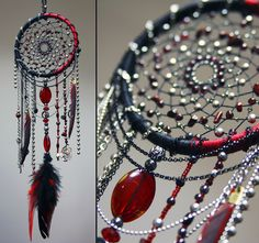 """Gothic vampire red black dreamcatcher """"Passion and steel"""""""
