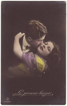 """First Kiss"" -  Antique hand tinted French postcard, 1910's"