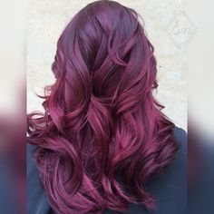Red violet hair! Burgundy and raspberry tones with Redken haircolor!