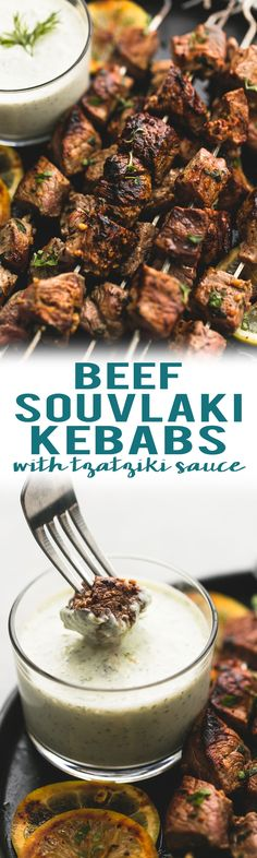 Easy marinated beef souvlaki kebabs with creamy tzatziki dipping sauce are healthy, delicious, and make the perfect baked or grilled skewers. | lecremedelacrumb.com