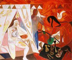 """Mimmo Paladino d' après Piero """"Constantins Traum"""", 1983 200 x 220 cm. oil on canvas on reverse signed Suonno (d'après Piero dela Francesca) M. Paladino 1983."""