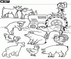 Farmer on his tractor surrounded by their farm animals coloring page