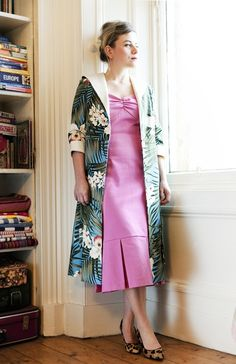 Fabric envie! I love the blue Hawaiian print of the coat. The pink dress underneath sets it off fantastically.