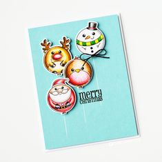 Measurements (all approximate): Santa - x Reindeer - x Snowman - x Robin - x Tree - x Pudding - x Star - x String - x Holiday Cards, Christmas Cards, Faber Castell Polychromos, Diy And Crafts, Paper Crafts, Heartfelt Creations, Winter Cards, Stamping Up, Cute Cards