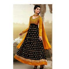 Invigorating Black And Mustard Resham Work Anarkali Suit