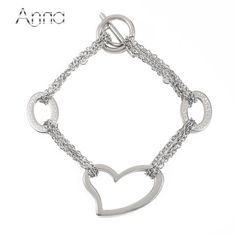 Fine or Fashion:Fashion Type:Link Chain Shape\pattern:Heart Bracelets Type:Charm Bracelets Style:Trendy Compatibility:All Compatible Metals Type:Stainless Steel Fashion Bracelets, Fashion Jewelry, Heart Bracelet, Shape Patterns, Types Of Fashion Styles, Link Bracelets, Types Of Metal, Romantic, Chain
