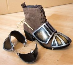 Attaching Worlba shoe covers to comfy shoes (Kamui Cosplay protip).