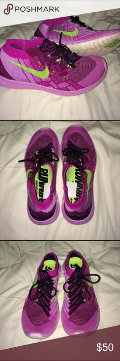 Nike Barefoot Ride 3.0 Purple Nikes; Neon Green check and lace accents; Running; Good condition, barely worn Nike Shoes Athletic Shoes