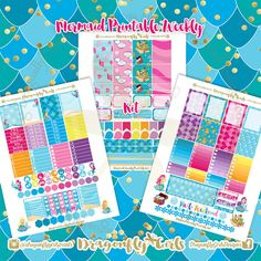 New!! Mermaids Stickers | 3 Page Weekly Kit | pdf 3 jpeg Erin Condren Life Planner Filofax MAMBI Color Crush Websters