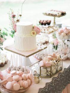 For a pastel or pink wedding, a pretty pink dessert bar ~ http://www.stylemepretty.com/2015/06/09/al-fresco-arizona-garden-wedding/