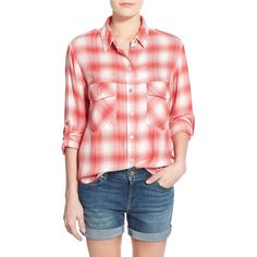 Sanctuary Plaid Boyfriend Shirt ($47) ❤ liked on Polyvore featuring tops, nation plaid, plaid boyfriend shirt, red long sleeve shirt, red top, boyfriend shirt and plaid flannel shirt