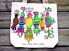 Neon fabric painted Gossiping Birds Tote with free pattern!  Easy DIY project! #tulipneon