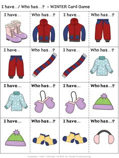 This #winter #vocabulary #game provides opportunities for #prek  (#preschool), #Kindergarten, and #gradeone children to practice identifying and naming items that can be found, and activities that people do, in the winter season.  Practice #sorting the cards.  What was your sorting rule? (Available in Print Letters or Sassoon Font.)