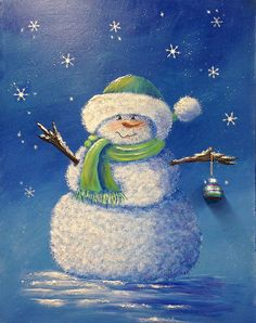 LITTLE BLUE SNOWMAN an original acrylic by DianeTrierweiler, $69.99