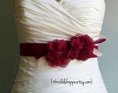Wedding Sash Belt MALLORY - Two Burgundy Flowers on Burgundy Satin with Feathers
