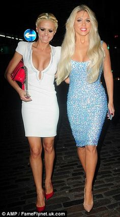 Battle of the busts: The tanned reality star was joined by an equally busty blonde pal who almost burst out of her plunging white dress Bianca Gascoigne, Evening Attire, Launch Party, Martini, Battle, Curvy, White Dress, Product Launch, Sparkle